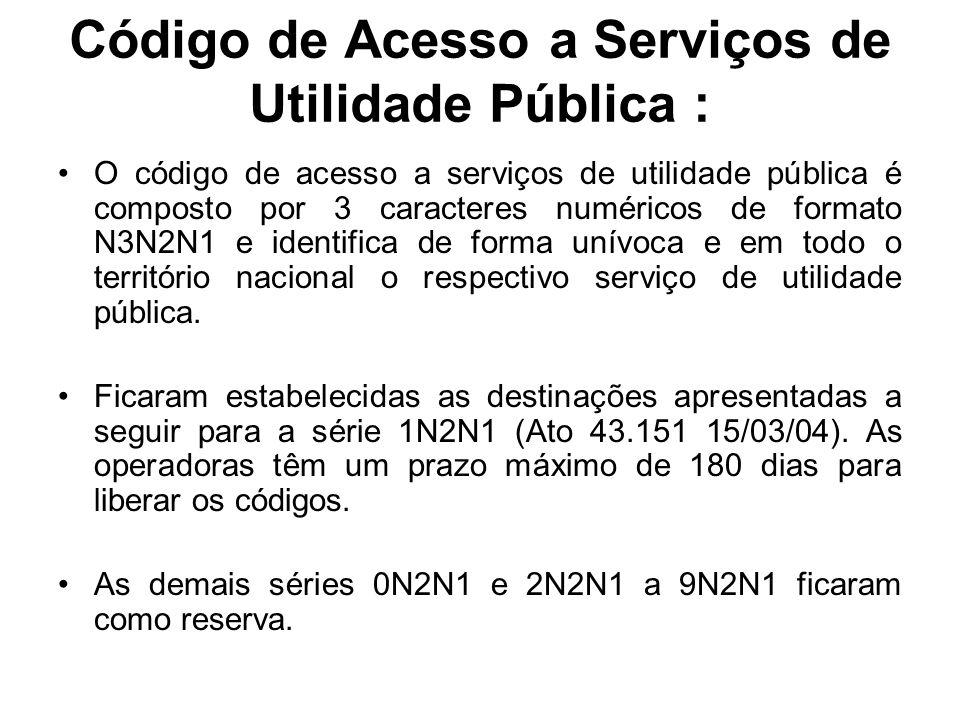 Código de Acesso a Serviços de Utilidade Pública : O código de acesso a serviços de utilidade pública é composto por 3 caracteres numéricos de formato