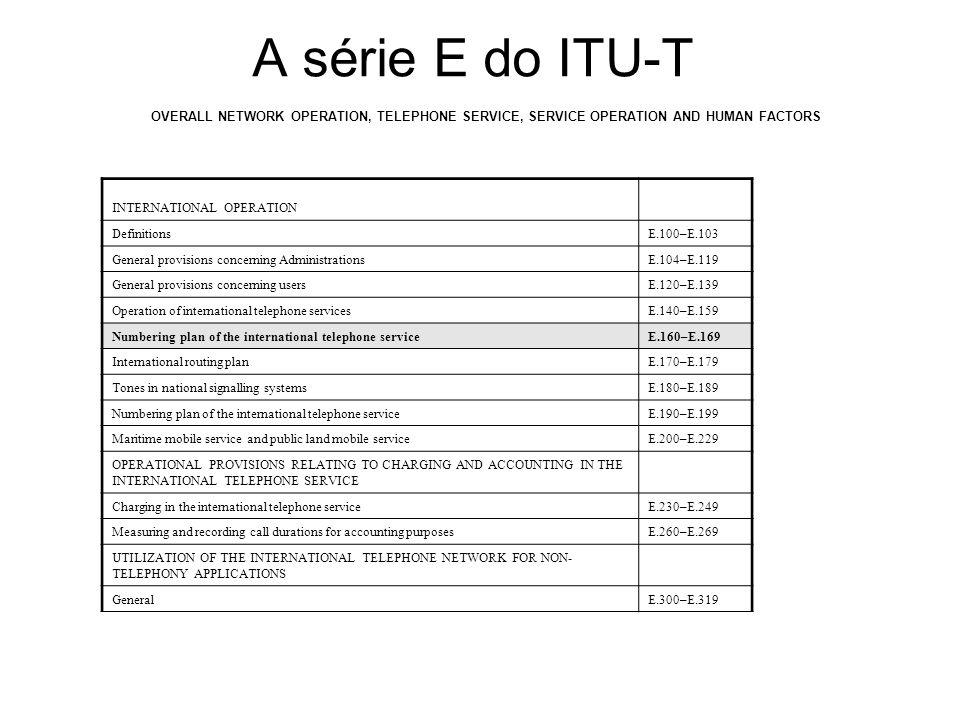 A série E do ITU-T, cont...