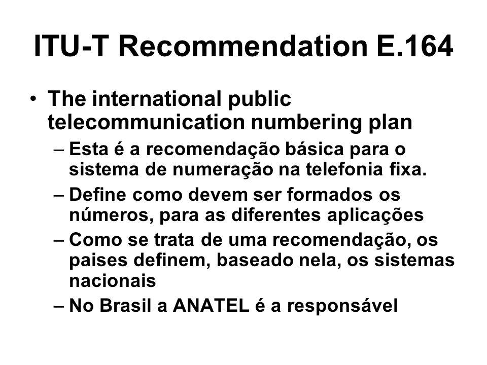 ITU-T Recommendation E.164 The international public telecommunication numbering plan –Esta é a recomendação básica para o sistema de numeração na tele