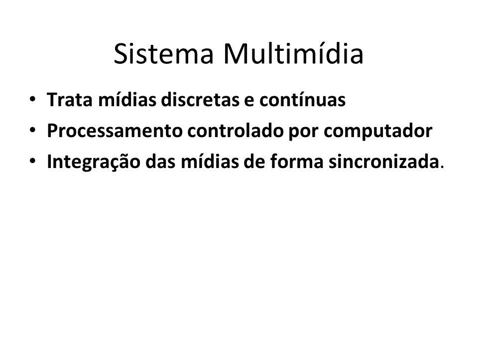 Sistema Multimídia Trata mídias discretas e contínuas Processamento controlado por computador Integração das mídias de forma sincronizada. 11
