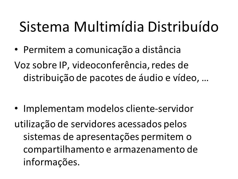 Sistema Multimídia Distribuído Permitem a comunicação a distância Voz sobre IP, videoconferência, redes de distribuição de pacotes de áudio e vídeo, …