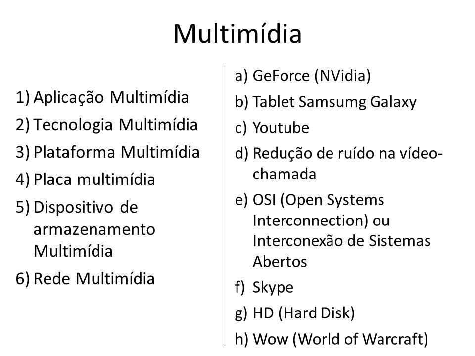 Multimídia 1)Aplicação Multimídia 2)Tecnologia Multimídia 3)Plataforma Multimídia 4)Placa multimídia 5)Dispositivo de armazenamento Multimídia 6)Rede