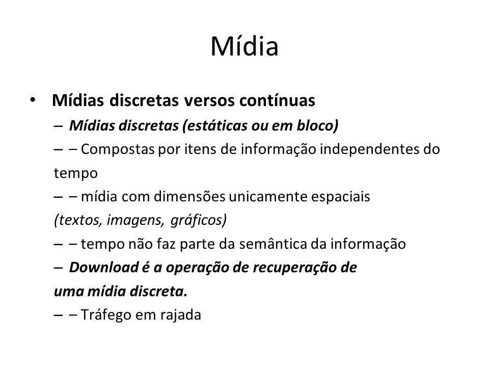 Mídia Mídias discretas versos contínuas – Mídias discretas (estáticas ou em bloco) – – Compostas por itens de informação independentes do tempo – – mí