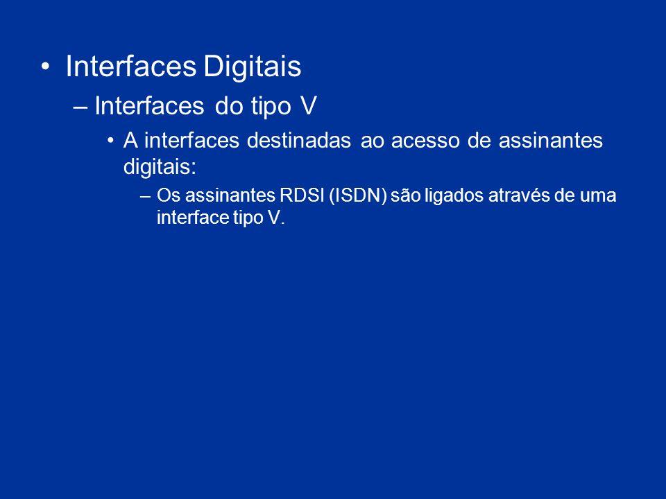 Interfaces Digitais –Interfaces do tipo V A interfaces destinadas ao acesso de assinantes digitais: –Os assinantes RDSI (ISDN) são ligados através de