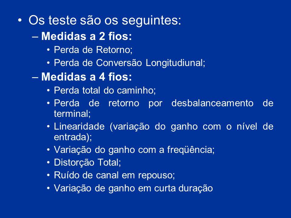 Os teste são os seguintes: –Medidas a 2 fios: Perda de Retorno; Perda de Conversão Longitudiunal; –Medidas a 4 fios: Perda total do caminho; Perda de