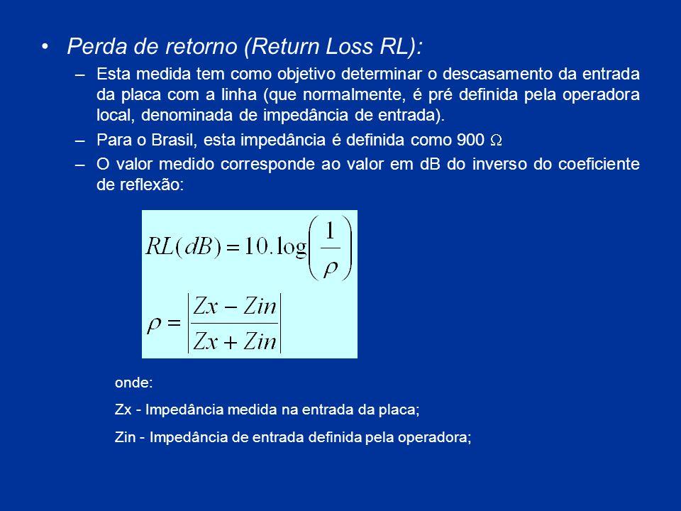 Perda de retorno (Return Loss RL): –Esta medida tem como objetivo determinar o descasamento da entrada da placa com a linha (que normalmente, é pré de