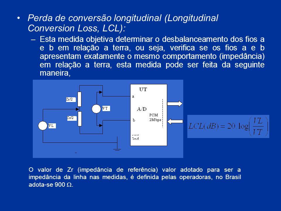Perda de conversão longitudinal (Longitudinal Conversion Loss, LCL): –Esta medida objetiva determinar o desbalanceamento dos fios a e b em relação a t