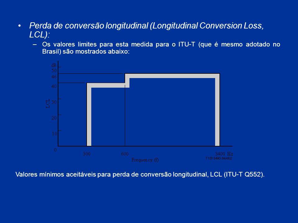 Perda de conversão longitudinal (Longitudinal Conversion Loss, LCL): –Os valores limites para esta medida para o ITU-T (que é mesmo adotado no Brasil)