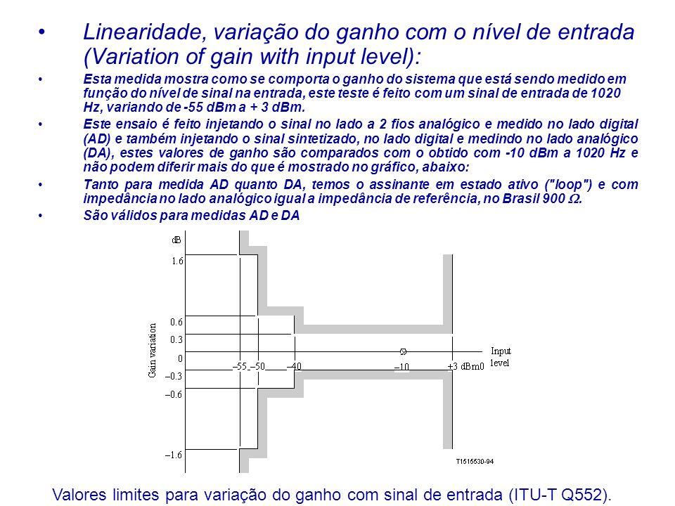 Linearidade, variação do ganho com o nível de entrada (Variation of gain with input level): Esta medida mostra como se comporta o ganho do sistema que