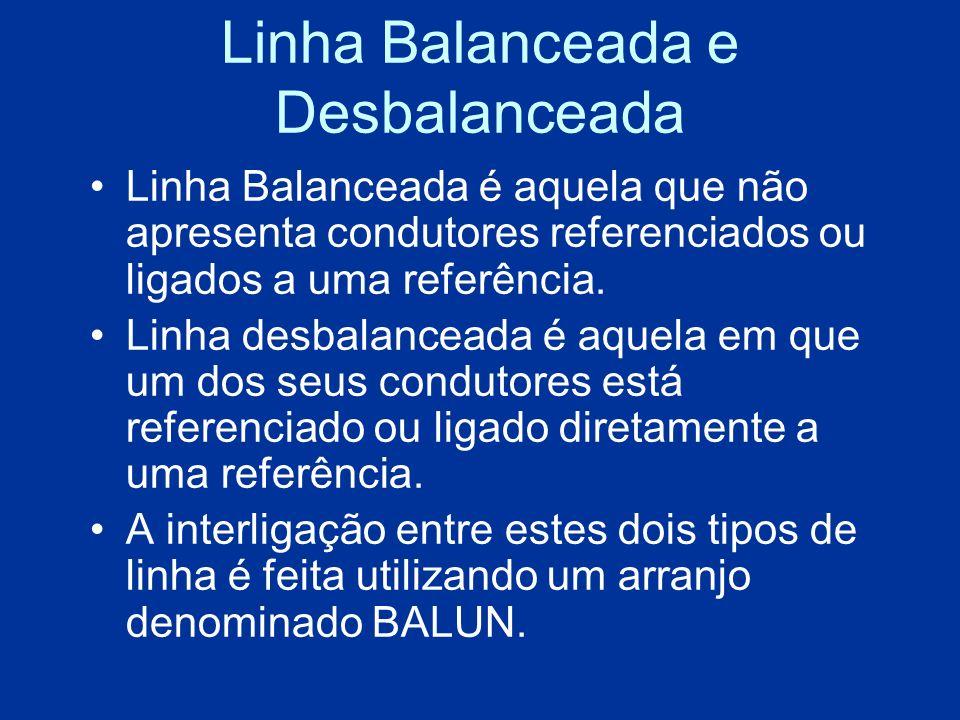 Linha Balanceada e Desbalanceada Linha Balanceada é aquela que não apresenta condutores referenciados ou ligados a uma referência. Linha desbalanceada