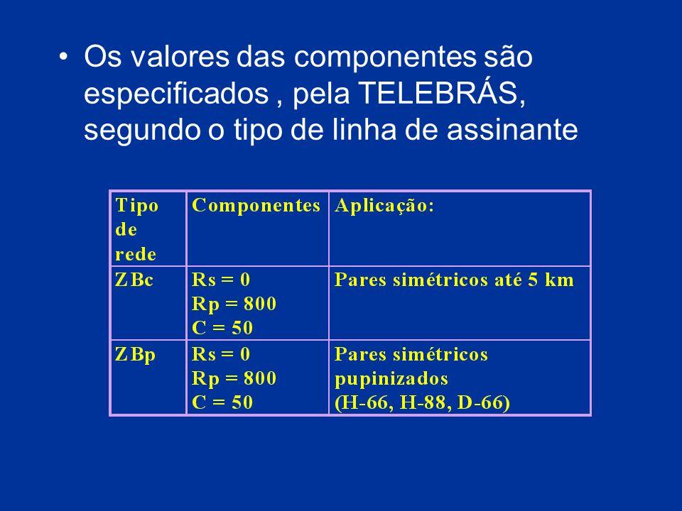 Os valores das componentes são especificados, pela TELEBRÁS, segundo o tipo de linha de assinante