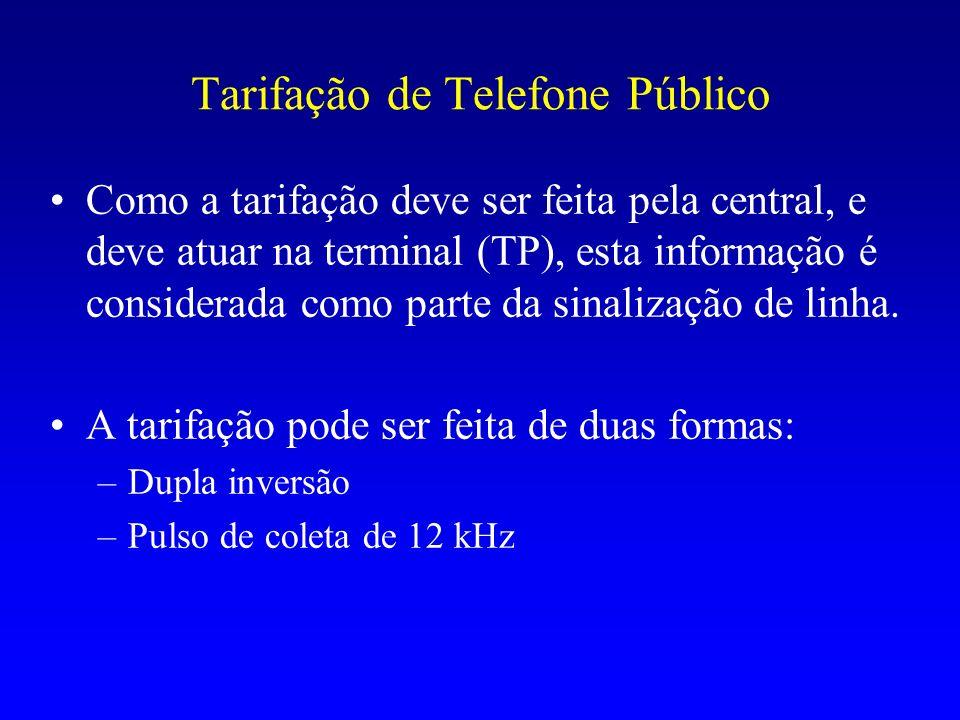Tarifação de Telefone Público Como a tarifação deve ser feita pela central, e deve atuar na terminal (TP), esta informação é considerada como parte da