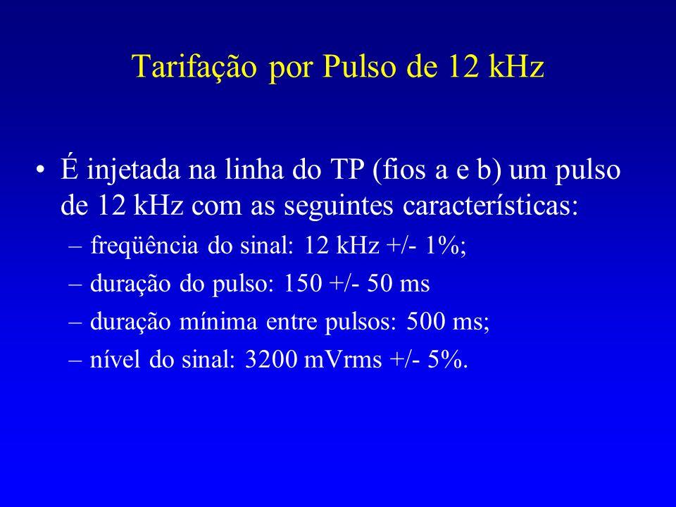Tarifação por Pulso de 12 kHz É injetada na linha do TP (fios a e b) um pulso de 12 kHz com as seguintes características: –freqüência do sinal: 12 kHz