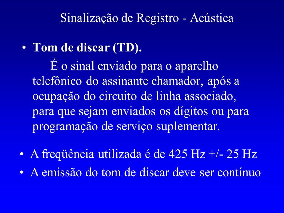 Tom de discar (TD). É o sinal enviado para o aparelho telefônico do assinante chamador, após a ocupação do circuito de linha associado, para que sejam