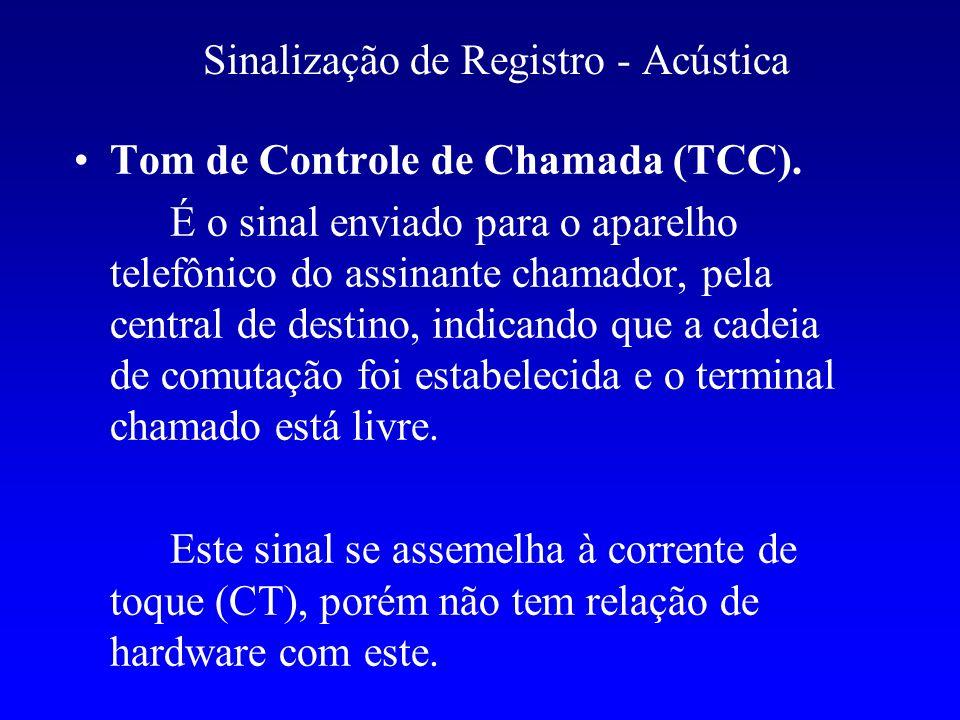 Sinalização de Registro - Acústica Tom de Controle de Chamada (TCC). É o sinal enviado para o aparelho telefônico do assinante chamador, pela central