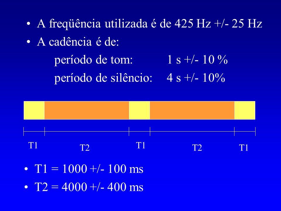 A freqüência utilizada é de 425 Hz +/- 25 Hz A cadência é de: período de tom: 1 s +/- 10 % período de silêncio: 4 s +/- 10% T1 T2 T1 T2 T1 = 1000 +/-
