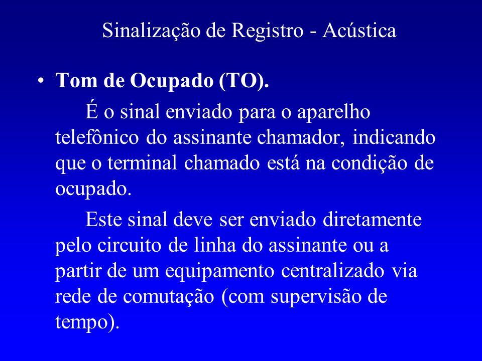 Sinalização de Registro - Acústica Tom de Ocupado (TO). É o sinal enviado para o aparelho telefônico do assinante chamador, indicando que o terminal c
