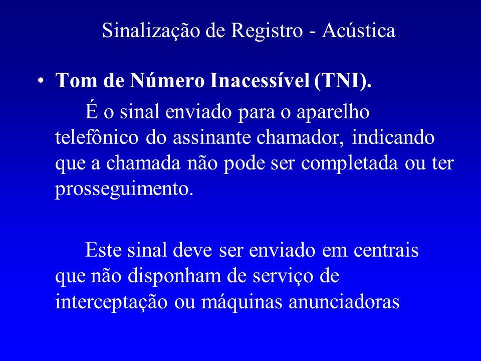 Sinalização de Registro - Acústica Tom de Número Inacessível (TNI). É o sinal enviado para o aparelho telefônico do assinante chamador, indicando que