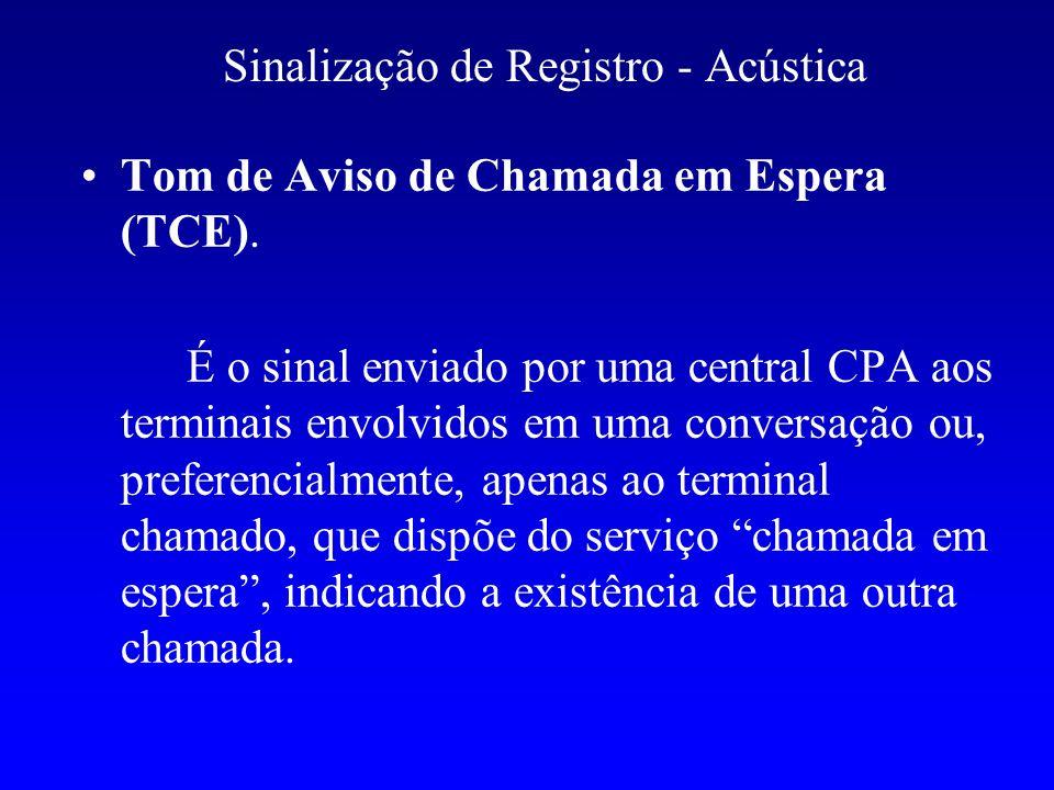 Sinalização de Registro - Acústica Tom de Aviso de Chamada em Espera (TCE). É o sinal enviado por uma central CPA aos terminais envolvidos em uma conv