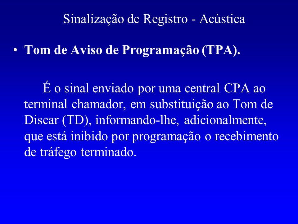 Sinalização de Registro - Acústica Tom de Aviso de Programação (TPA). É o sinal enviado por uma central CPA ao terminal chamador, em substituição ao T