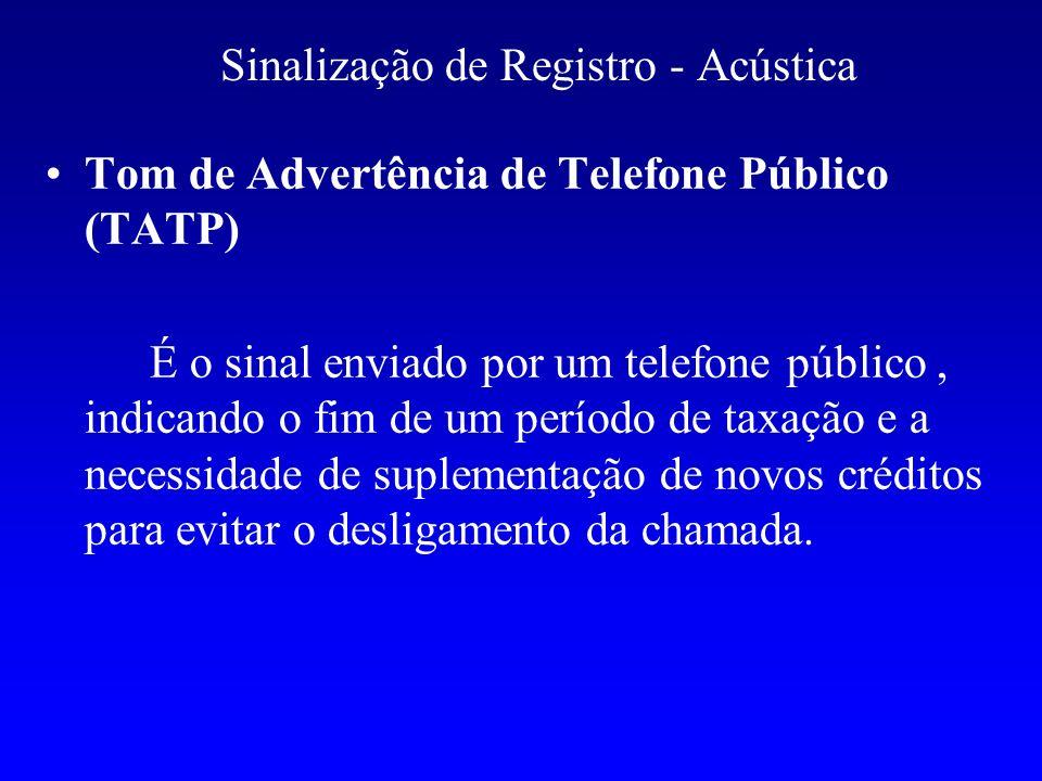 Sinalização de Registro - Acústica Tom de Advertência de Telefone Público (TATP) É o sinal enviado por um telefone público, indicando o fim de um perí