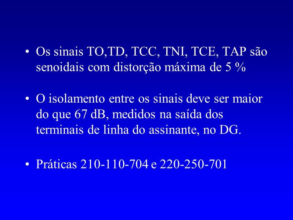 Os sinais TO,TD, TCC, TNI, TCE, TAP são senoidais com distorção máxima de 5 % O isolamento entre os sinais deve ser maior do que 67 dB, medidos na saí