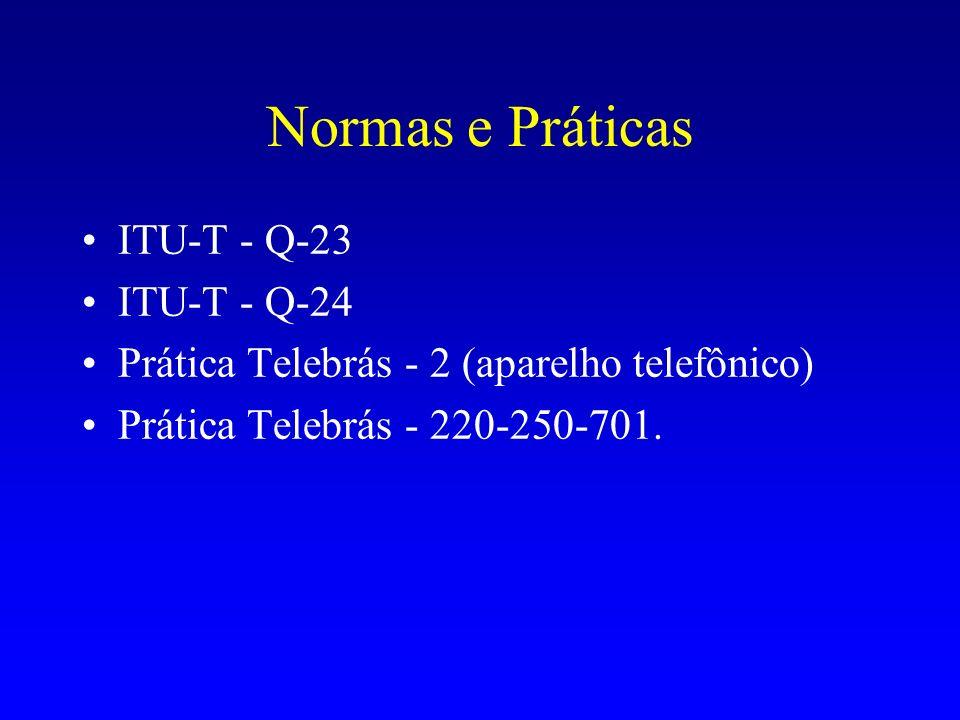 Normas e Práticas ITU-T - Q-23 ITU-T - Q-24 Prática Telebrás - 2 (aparelho telefônico) Prática Telebrás - 220-250-701.