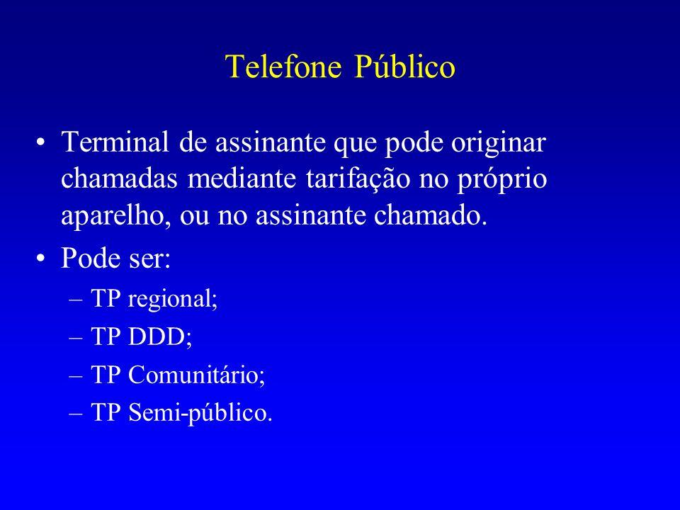 Telefone Público Terminal de assinante que pode originar chamadas mediante tarifação no próprio aparelho, ou no assinante chamado. Pode ser: –TP regio