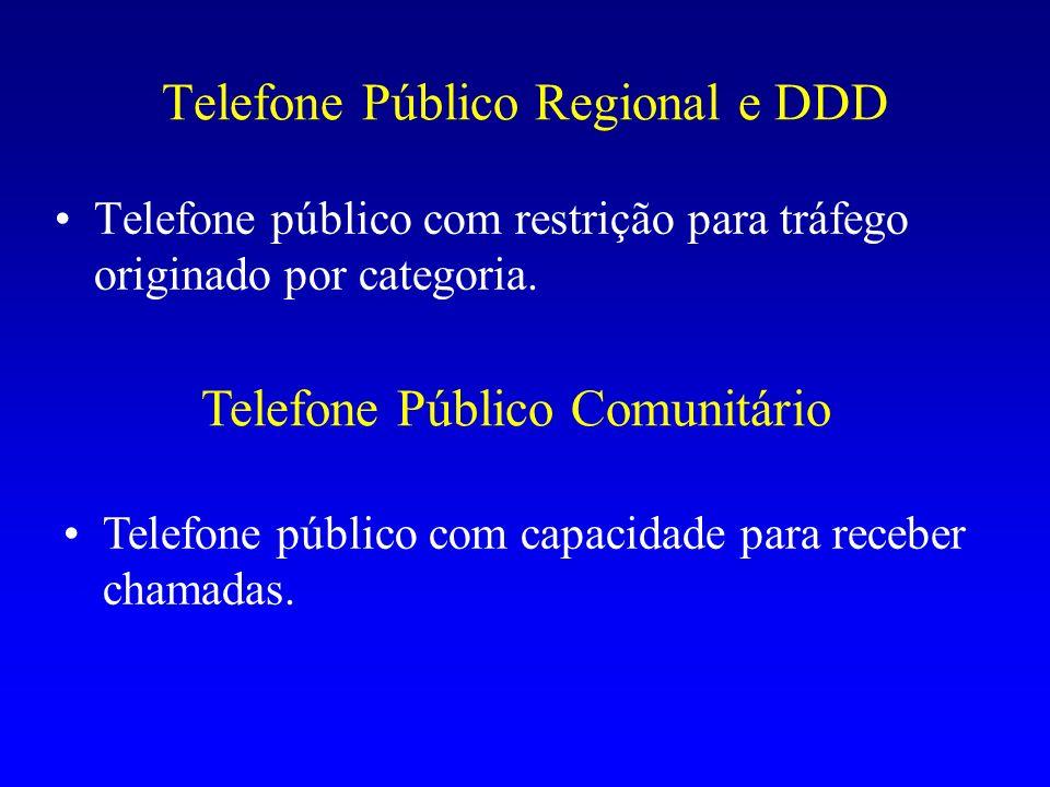 Telefone Público Regional e DDD Telefone público com restrição para tráfego originado por categoria. Telefone Público Comunitário Telefone público com