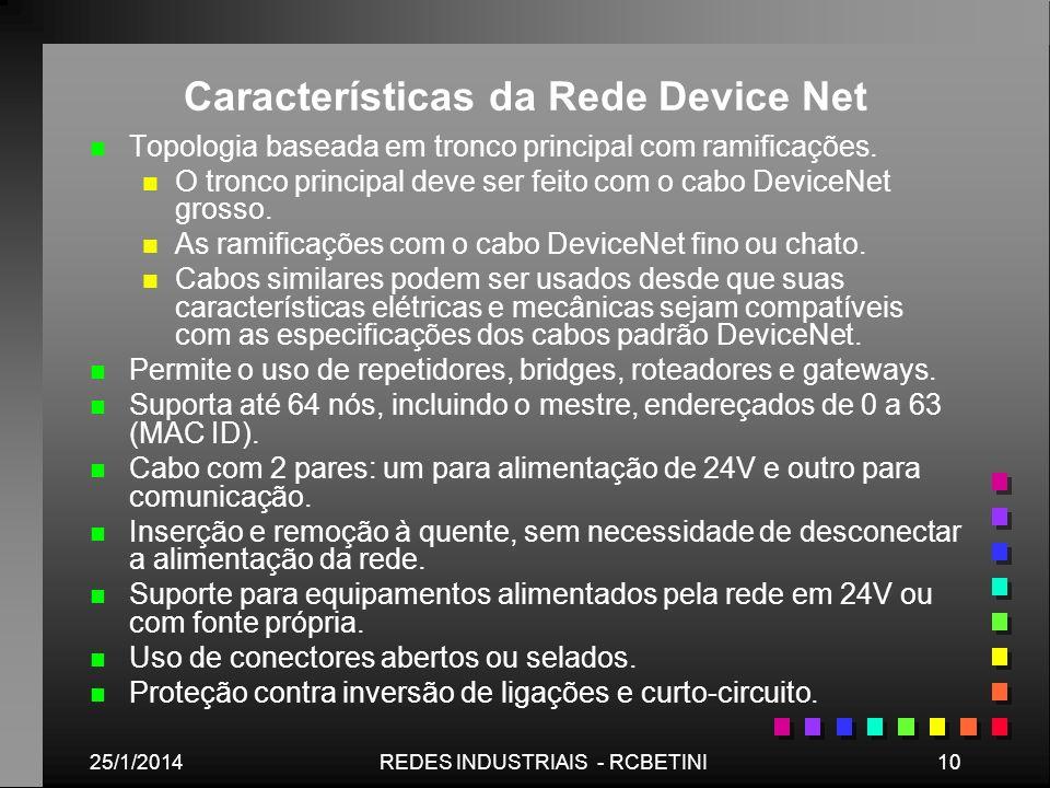 25/1/201410REDES INDUSTRIAIS - RCBETINI Características da Rede Device Net n n Topologia baseada em tronco principal com ramificações. n n O tronco pr