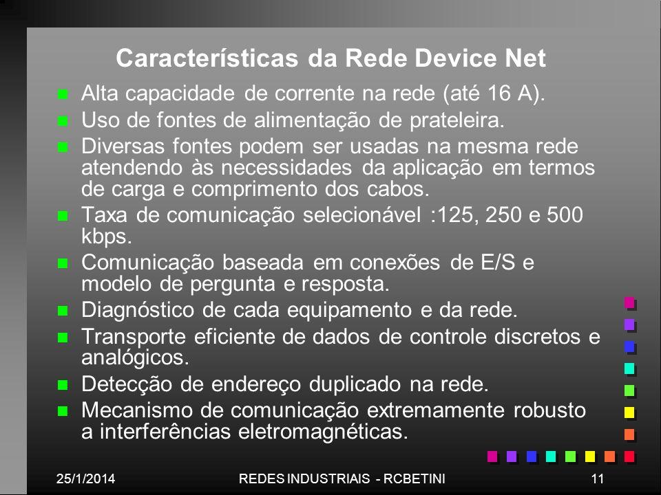 25/1/201411REDES INDUSTRIAIS - RCBETINI Características da Rede Device Net n n Alta capacidade de corrente na rede (até 16 A). n n Uso de fontes de al