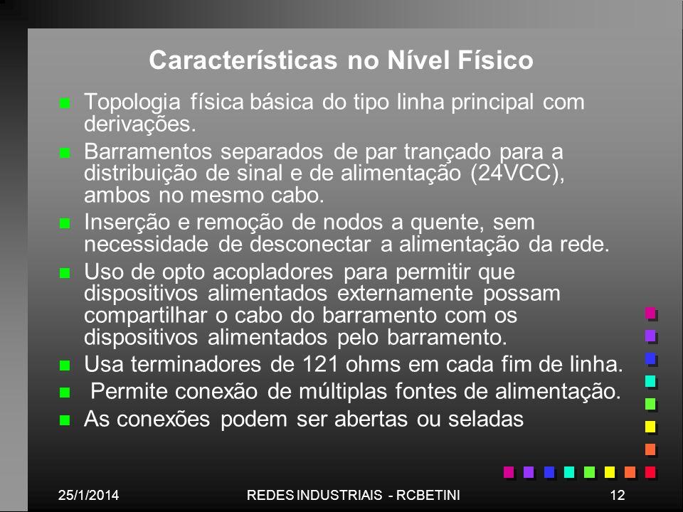 25/1/201412REDES INDUSTRIAIS - RCBETINI Características no Nível Físico n n Topologia física básica do tipo linha principal com derivações. n n Barram