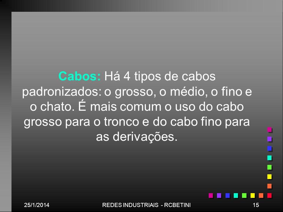 25/1/201415REDES INDUSTRIAIS - RCBETINI Cabos: Há 4 tipos de cabos padronizados: o grosso, o médio, o fino e o chato. É mais comum o uso do cabo gross