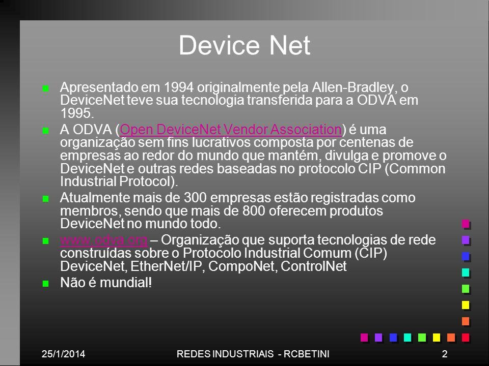 25/1/20143REDES INDUSTRIAIS - RCBETINI Device Net n n DeviceNet é um rede digital, multi-drop para conexão entre sensores, atuadores e sistema de automação industrial em geral.