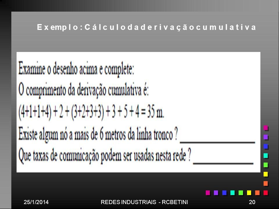 25/1/201420REDES INDUSTRIAIS - RCBETINI E x emp l o : C á l c u l o d a d e r i v a ç ã o c u m u l a t i v a