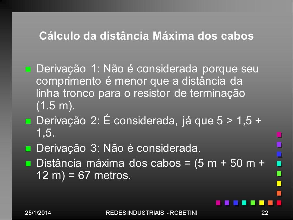 25/1/201422REDES INDUSTRIAIS - RCBETINI Cálculo da distância Máxima dos cabos n n Derivação 1: Não é considerada porque seu comprimento é menor que a