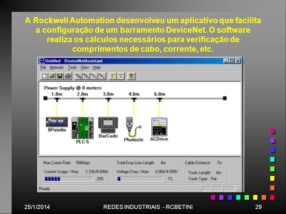 25/1/201429REDES INDUSTRIAIS - RCBETINI A Rockwell Automation desenvolveu um aplicativo que facilita a configuração de um barramento DeviceNet. O soft