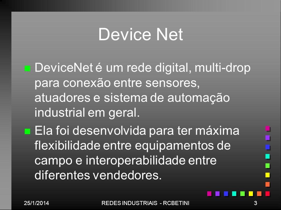 25/1/20143REDES INDUSTRIAIS - RCBETINI Device Net n n DeviceNet é um rede digital, multi-drop para conexão entre sensores, atuadores e sistema de auto