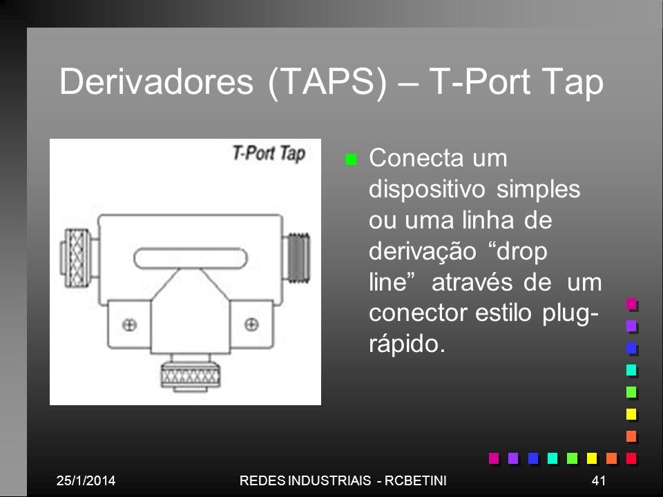 25/1/201441REDES INDUSTRIAIS - RCBETINI Derivadores (TAPS) – T-Port Tap n Conecta um dispositivo simples ou uma linha de derivação drop line através d