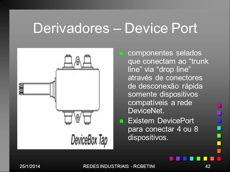 25/1/201442REDES INDUSTRIAIS - RCBETINI Derivadores – Device Port n componentes selados que conectam ao trunk line via drop line através de conectores