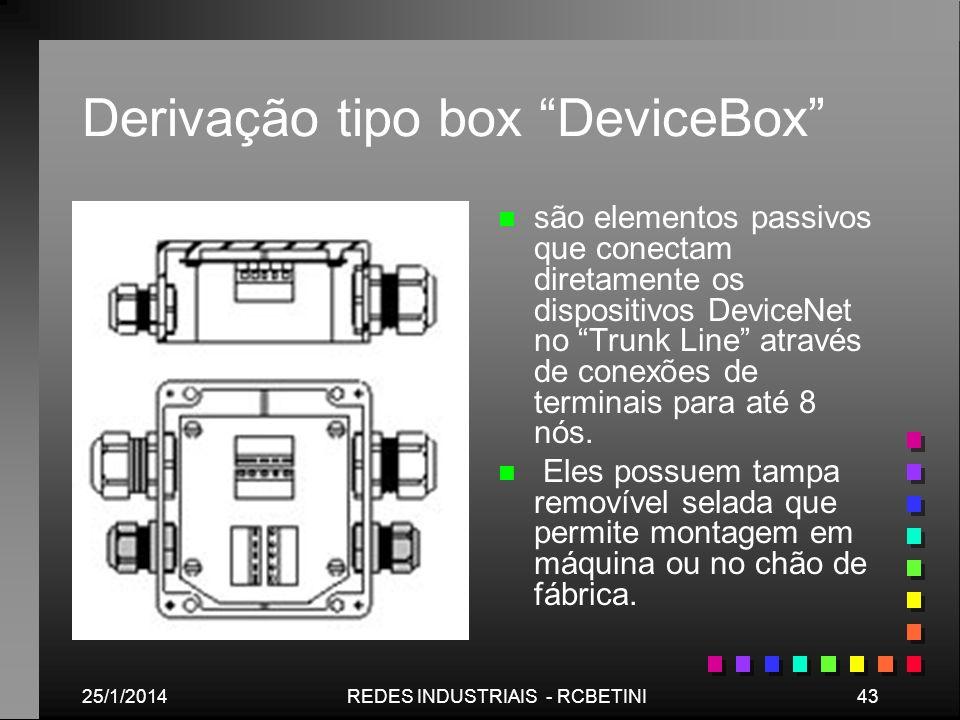 25/1/201443REDES INDUSTRIAIS - RCBETINI Derivação tipo box DeviceBox n são elementos passivos que conectam diretamente os dispositivos DeviceNet no Tr