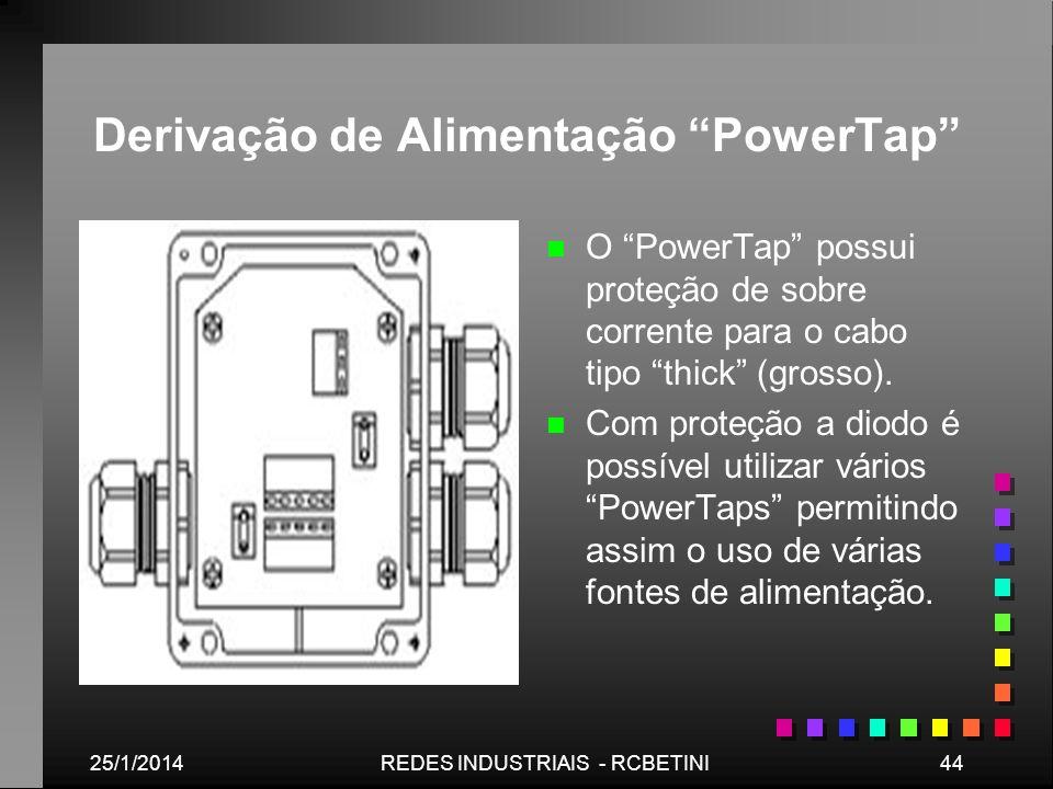 25/1/201444REDES INDUSTRIAIS - RCBETINI Derivação de Alimentação PowerTap n O PowerTap possui proteção de sobre corrente para o cabo tipo thick (gross