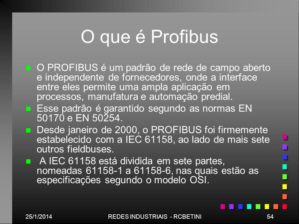 25/1/201454REDES INDUSTRIAIS - RCBETINI O que é Profibus n n O PROFIBUS é um padrão de rede de campo aberto e independente de fornecedores, onde a int