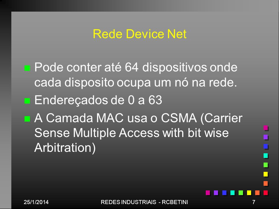 25/1/20148REDES INDUSTRIAIS - RCBETINI Exemplo de Rede Device Net - O mecanismo de comunicação é peer to peer com prioridade.