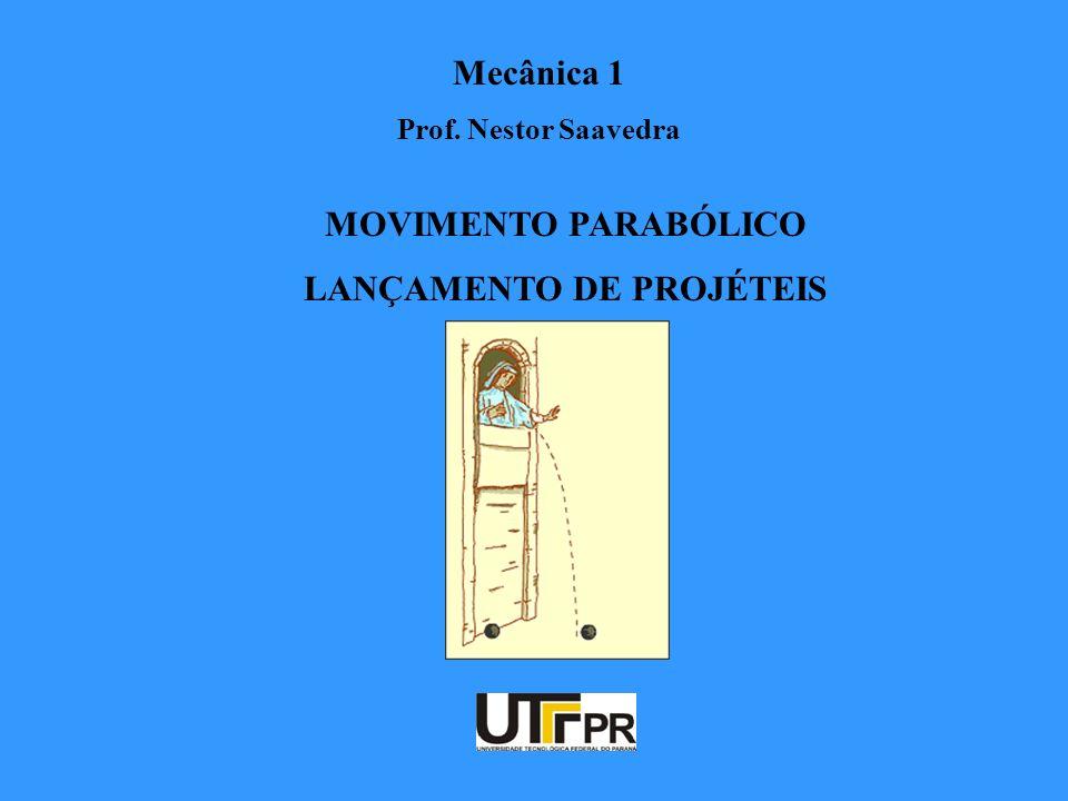 Mecânica 1 Prof. Nestor Saavedra MOVIMENTO PARABÓLICO LANÇAMENTO DE PROJÉTEIS