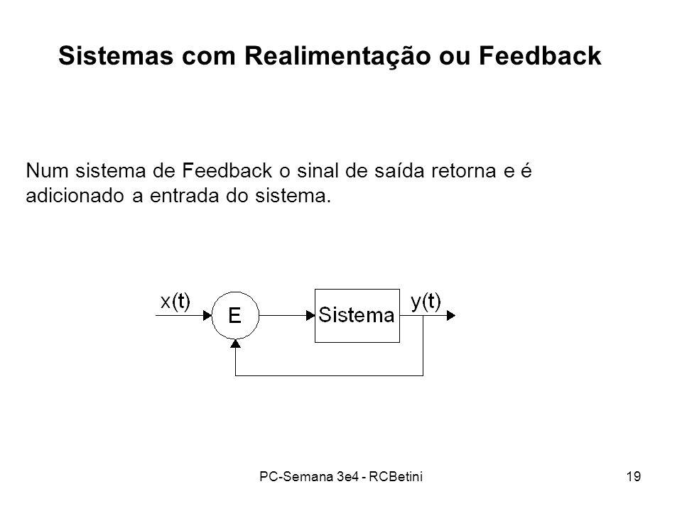 PC-Semana 3e4 - RCBetini19 Sistemas com Realimentação ou Feedback Num sistema de Feedback o sinal de saída retorna e é adicionado a entrada do sistema