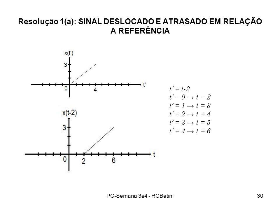 PC-Semana 3e4 - RCBetini30 Resolução 1(a): SINAL DESLOCADO E ATRASADO EM RELAÇÃO A REFERÊNCIA t = t-2 t = 0 t = 2 t = 1 t = 3 t = 2 t = 4 t = 3 t = 5
