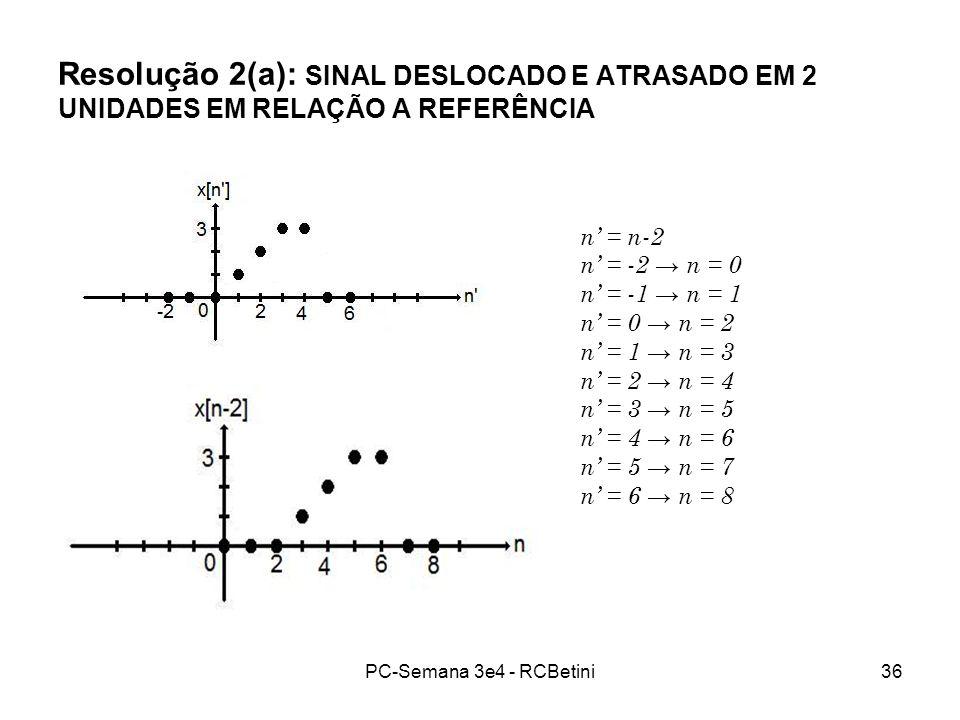 PC-Semana 3e4 - RCBetini36 Resolução 2(a): SINAL DESLOCADO E ATRASADO EM 2 UNIDADES EM RELAÇÃO A REFERÊNCIA n = n-2 n = -2 n = 0 n = -1 n = 1 n = 0 n