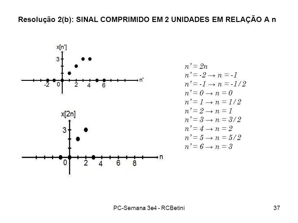 PC-Semana 3e4 - RCBetini37 Resolução 2(b): SINAL COMPRIMIDO EM 2 UNIDADES EM RELAÇÃO A n n = 2n n = -2 n = -1 n = -1 n = -1/2 n = 0 n = 1 n = 1/2 n =