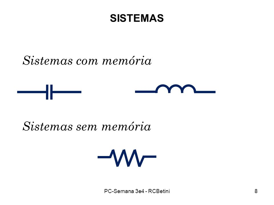 PC-Semana 3e4 - RCBetini8 SISTEMAS Sistemas com memória Sistemas sem memória